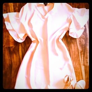 Blush Pink Shift Dress with Tiered Sleeves-M